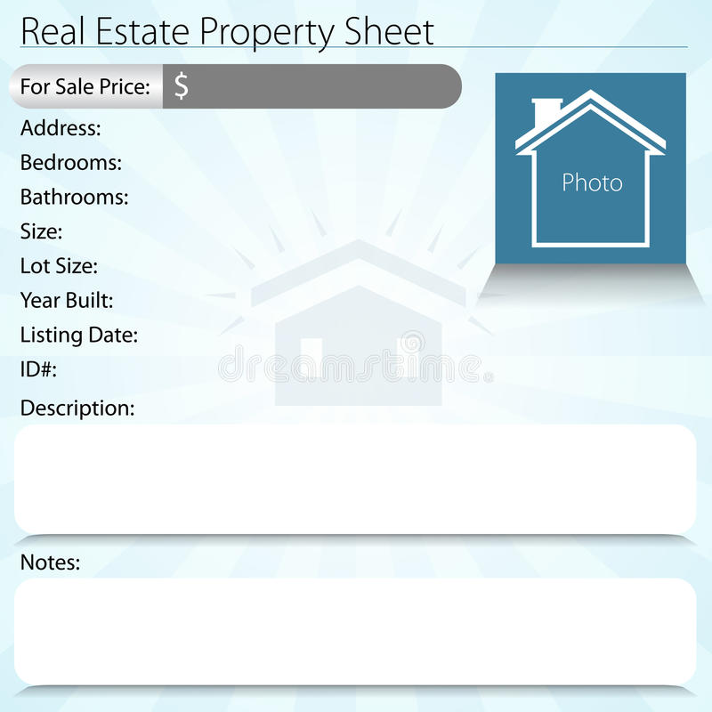 Real Estate Property Sheet. An image of a real estate property sheet stock illustration