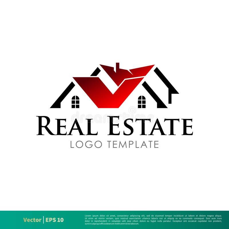 Real Estate röd hem- symbolsvektor Logo Template Illustration Design Vektor EPS 10 stock illustrationer