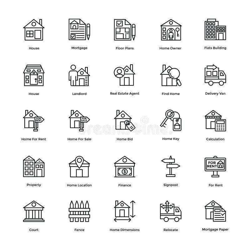 Real Estate rayent des icônes de vecteur a placé 1 illustration stock