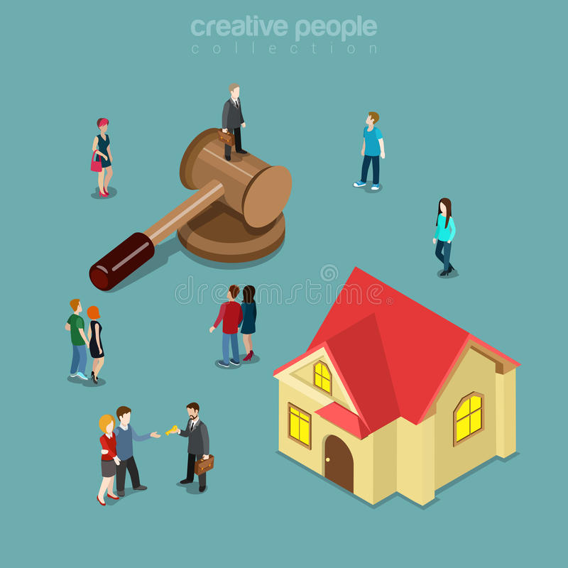 Free Real Estate Realty Auction House Building Flat Isometric Vector Royalty Free Stock Photo - 66253515