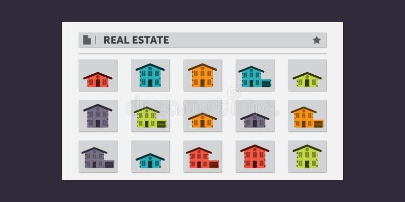 Real Estate söker resultat royaltyfri illustrationer