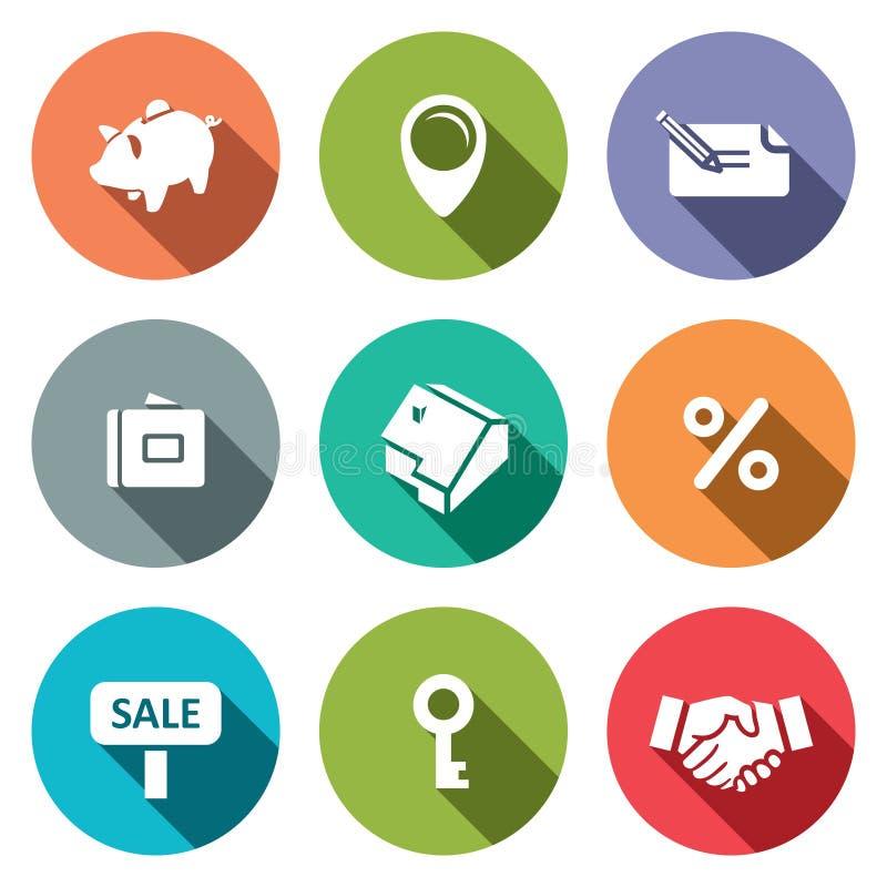 Real Estate s'occupent la collection plate d'icône illustration de vecteur