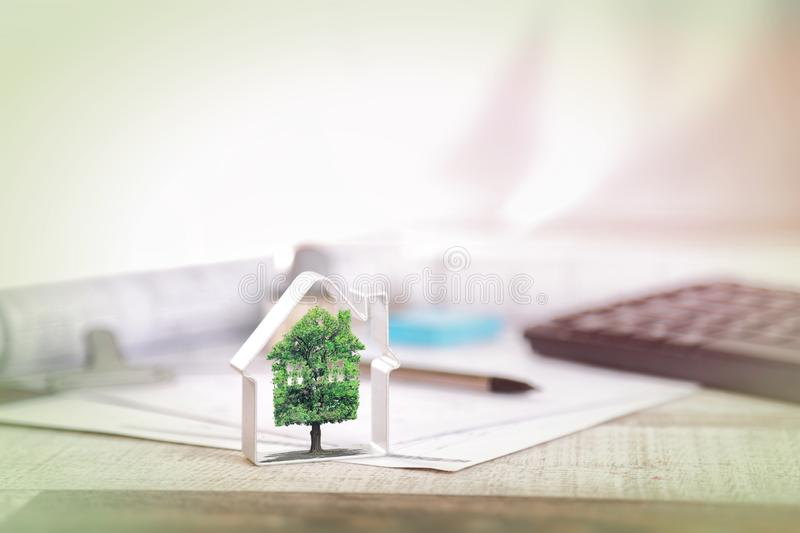 Real estate, for sale, ecology. Banner stock image