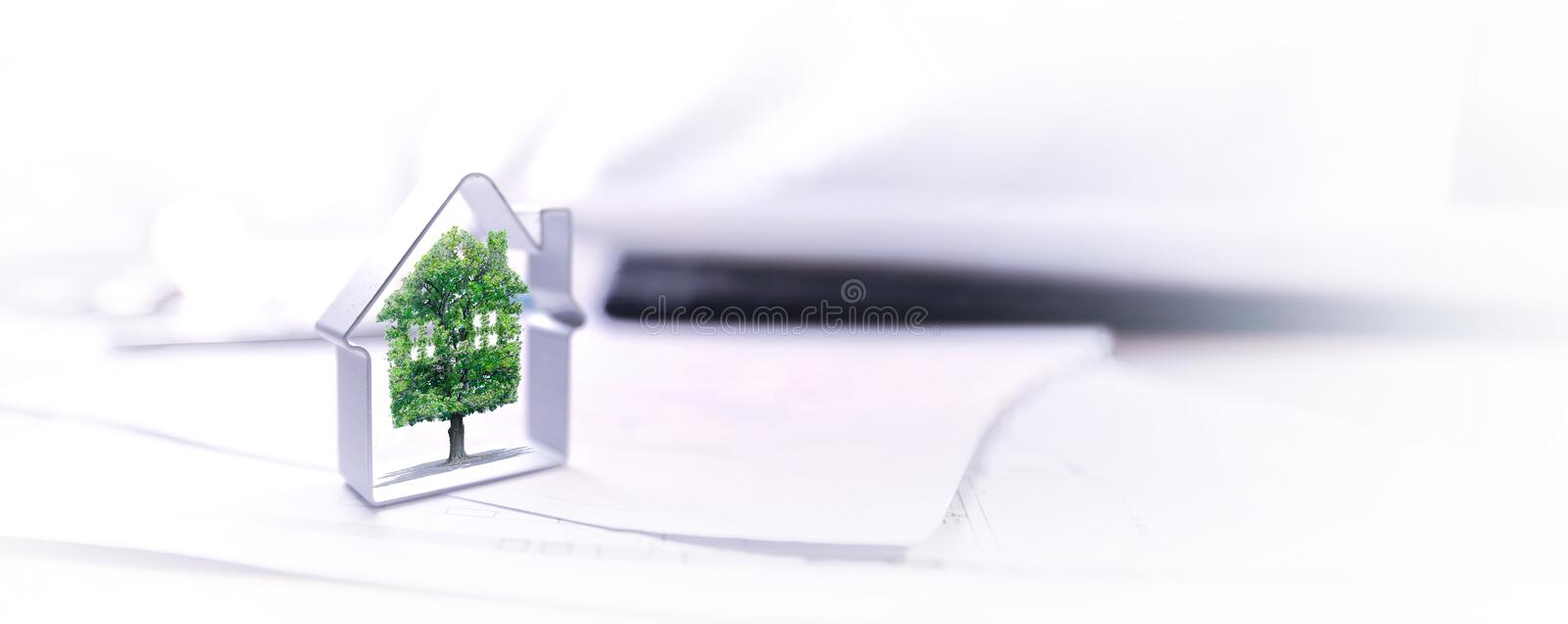 Real estate, for sale, ecology. Banner royalty free stock photo