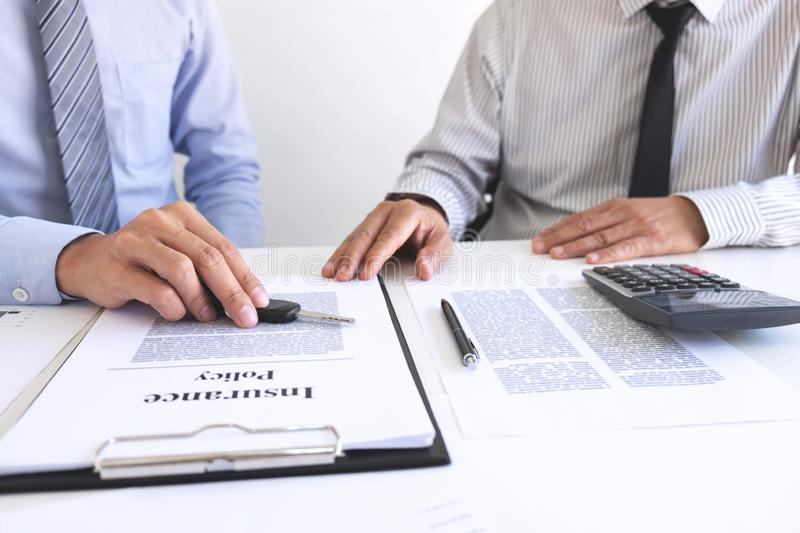 Real estate Sales manager giving keys to customer after signing rental lease contract of sale purchase agreement, concerning. Mortgage loan offer for and house stock photos