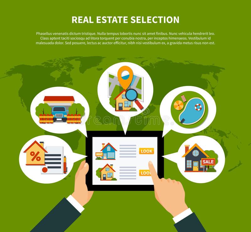 Real estate selection concept stock vector illustration of flat design real estate online selection concept on green background with world map vector illustration gumiabroncs Images
