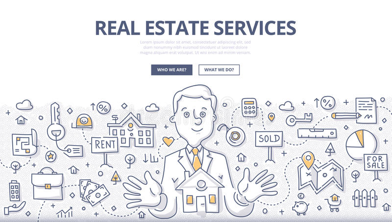 Real Estate Services Doodle Concept royalty free illustration
