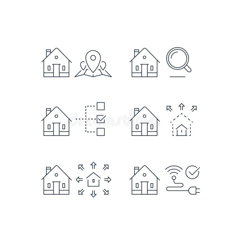 Search criteria, real estate services, location mark on map, size parameter, smart home, wireless internet connection, stroke icon stock illustration