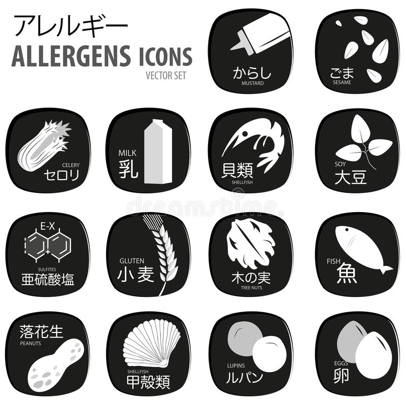 Food allergen set of symbols in Japanese. For your business royalty free illustration