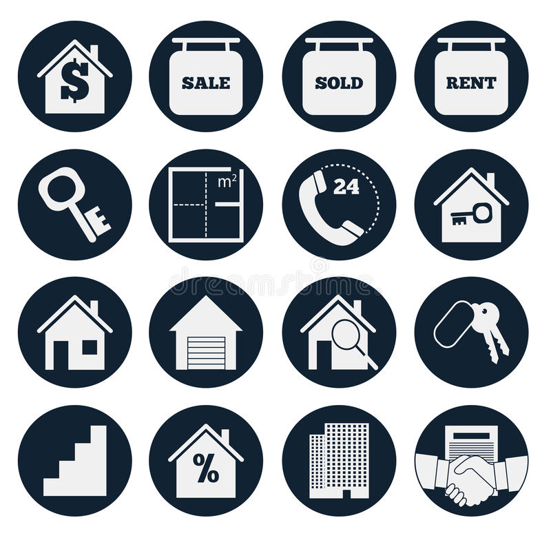 Real Estate. Set vector icons stock image