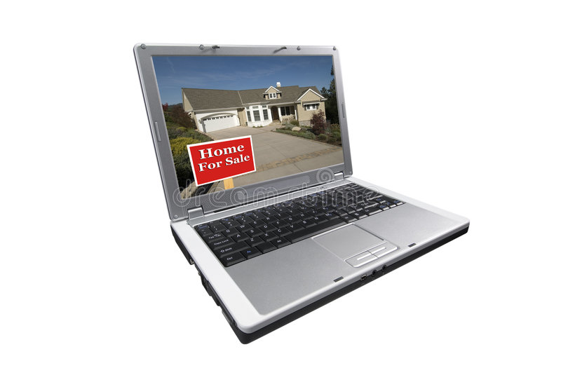 Real estate shopping online. Laptop computer isolated on white, picture on screen of home and for sale sign in foreground stock images