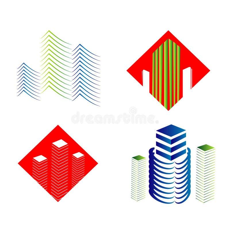 Real Estate sieci ikony ustawiać i wektorowi logowie ilustracji