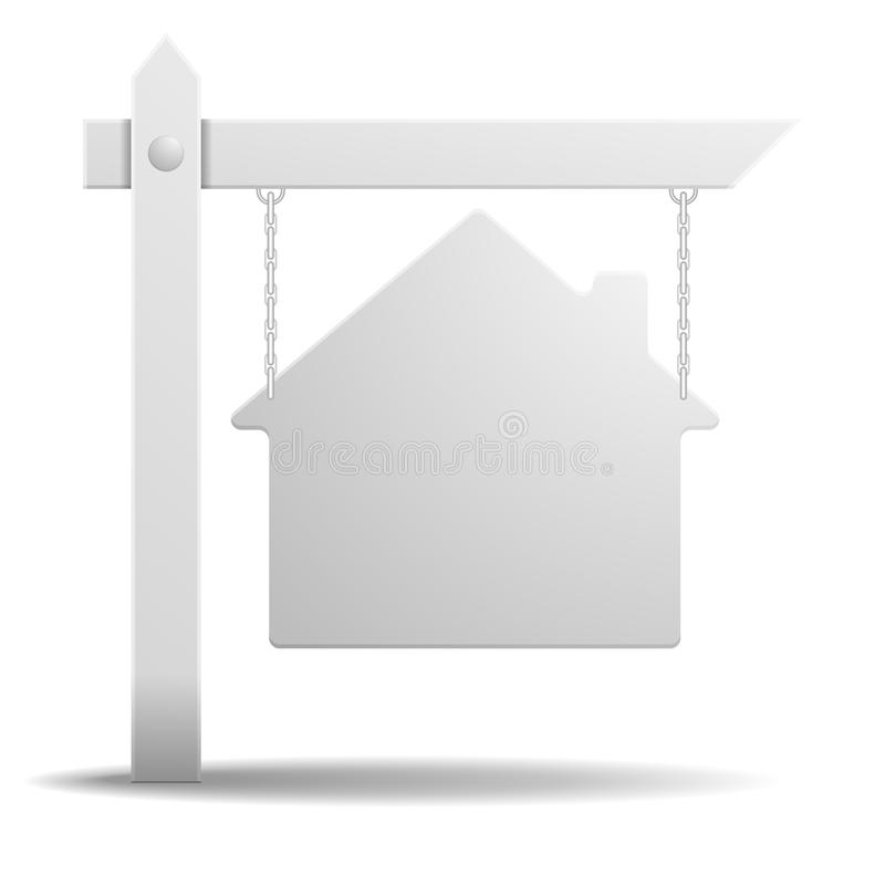 Real Estate Sign. Detailed illustration of a blank white real estate sign in shape of a house vector illustration