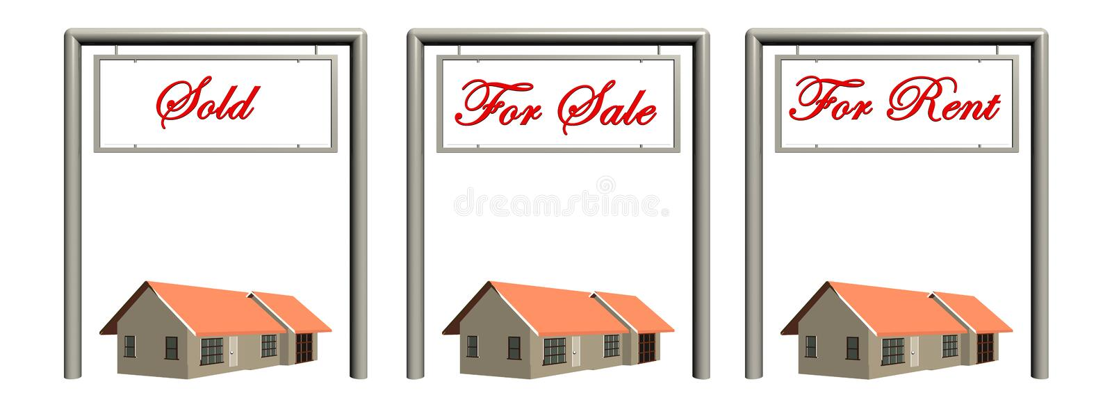 Real estate signs with houses. vector illustration