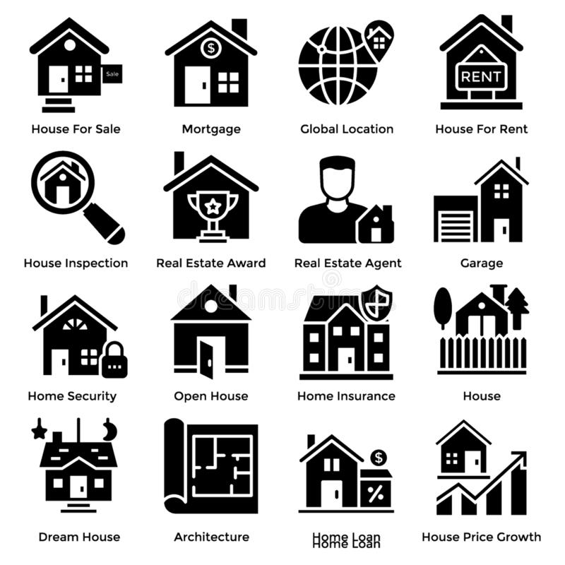 Real Estate Solid Icons vector illustration
