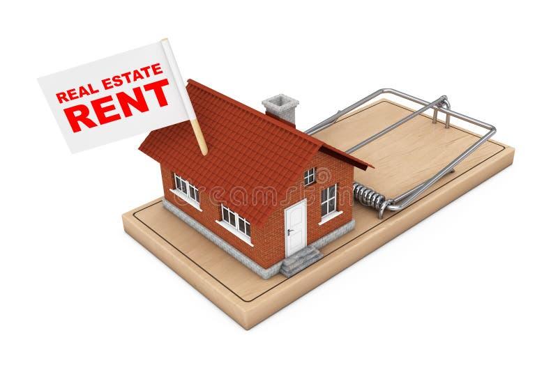 Real Estate sprzedaży pojęcie Domowy budynek z Real Estate czynszem F ilustracji