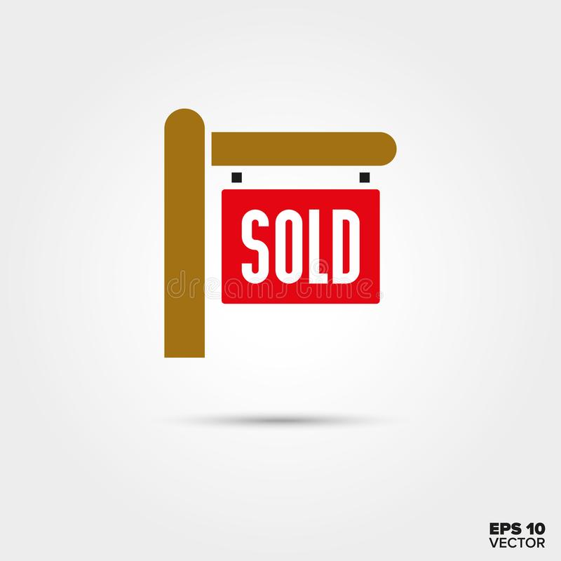 Real Estate sprzedawał szyldową wektorową ikonę ilustracja wektor