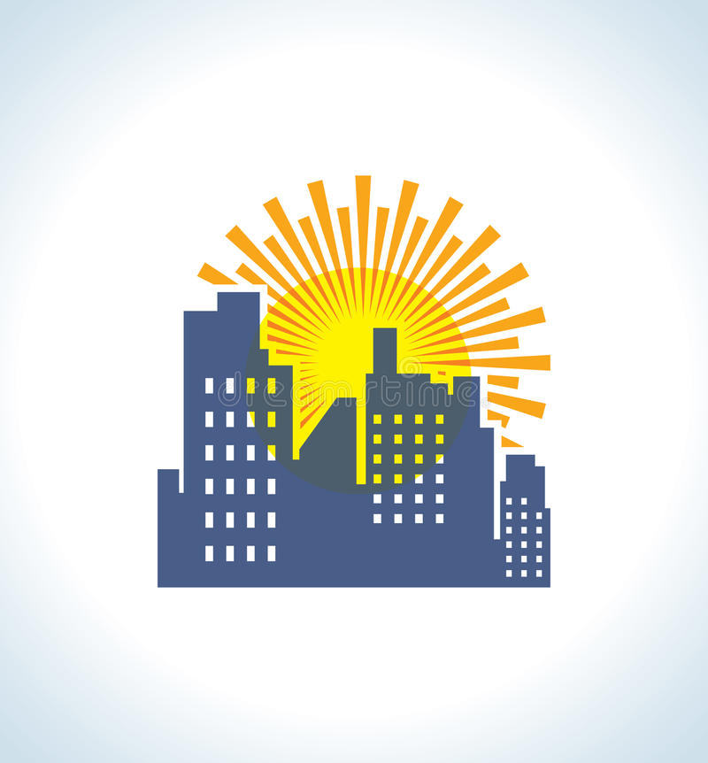 Real Estate and Sun Lights. Concept Vector Symbol royalty free illustration