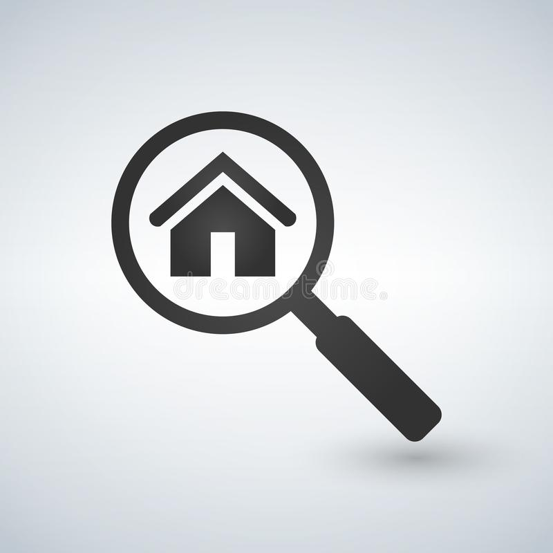 Real Estate Symbol Of A House Under Magnifying Glass Suitable For