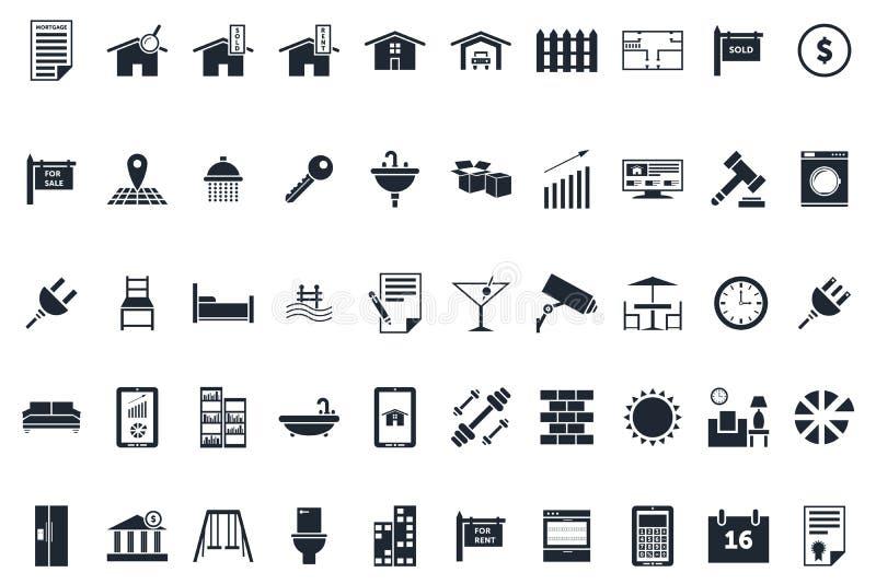 Real Estate symboler royaltyfri illustrationer