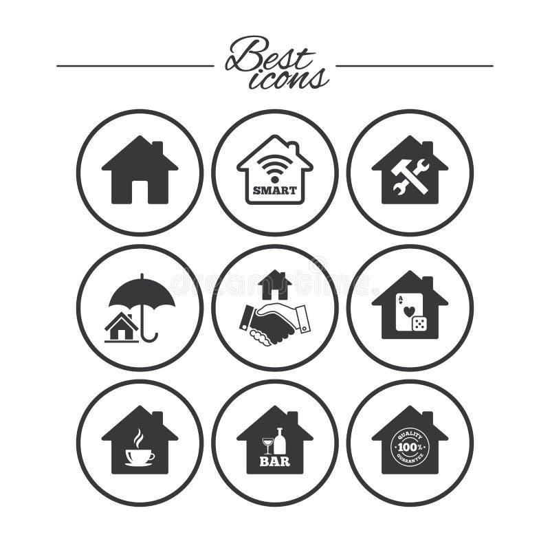 Real Estate symboler Husförsäkringtecken vektor illustrationer