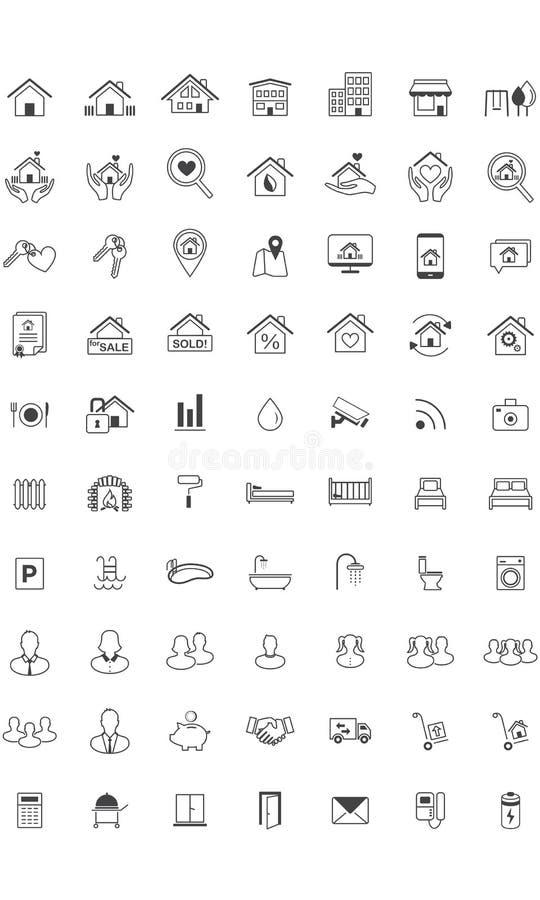 Real Estate symbolsuppsättning, linje royaltyfri illustrationer