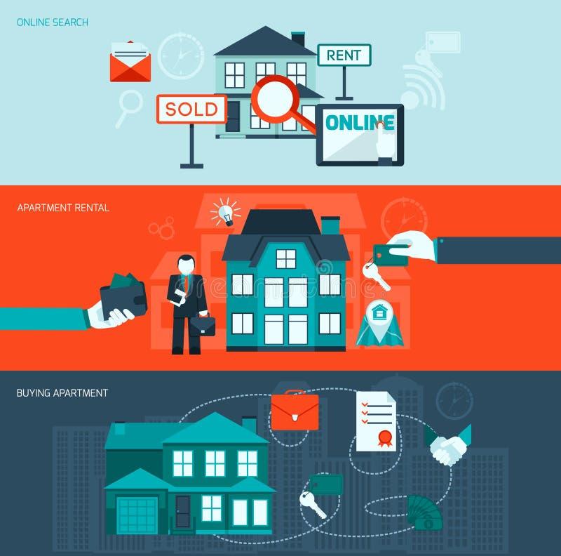 Real Estate sztandaru set ilustracji