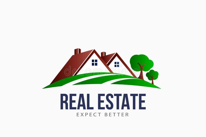 Real Estate telha o logotipo da paisagem da casa ilustração do vetor