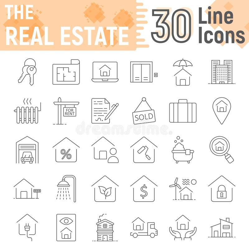 Real Estate Thin Line Icon Set Home Signs Stock Vector