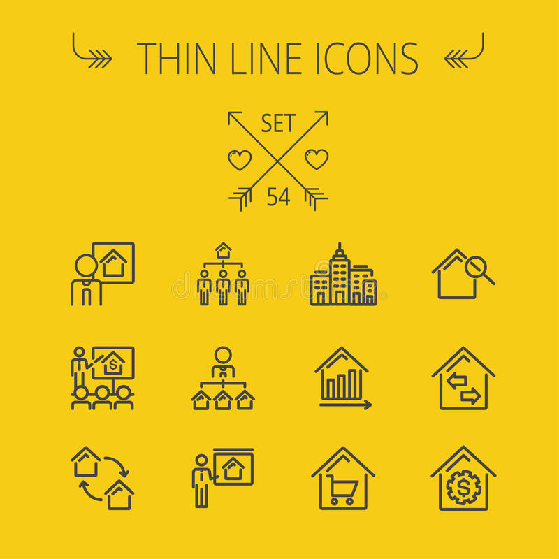Real Estate thin line icon set stock illustration
