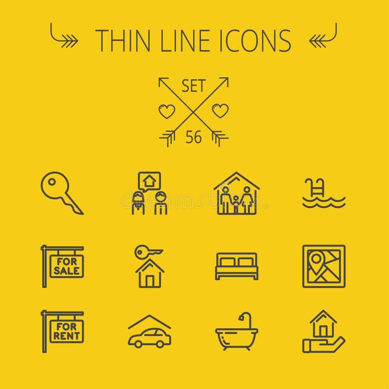 Real Estate thin line icon set royalty free illustration