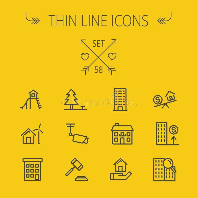 Real Estate thin line icon set vector illustration