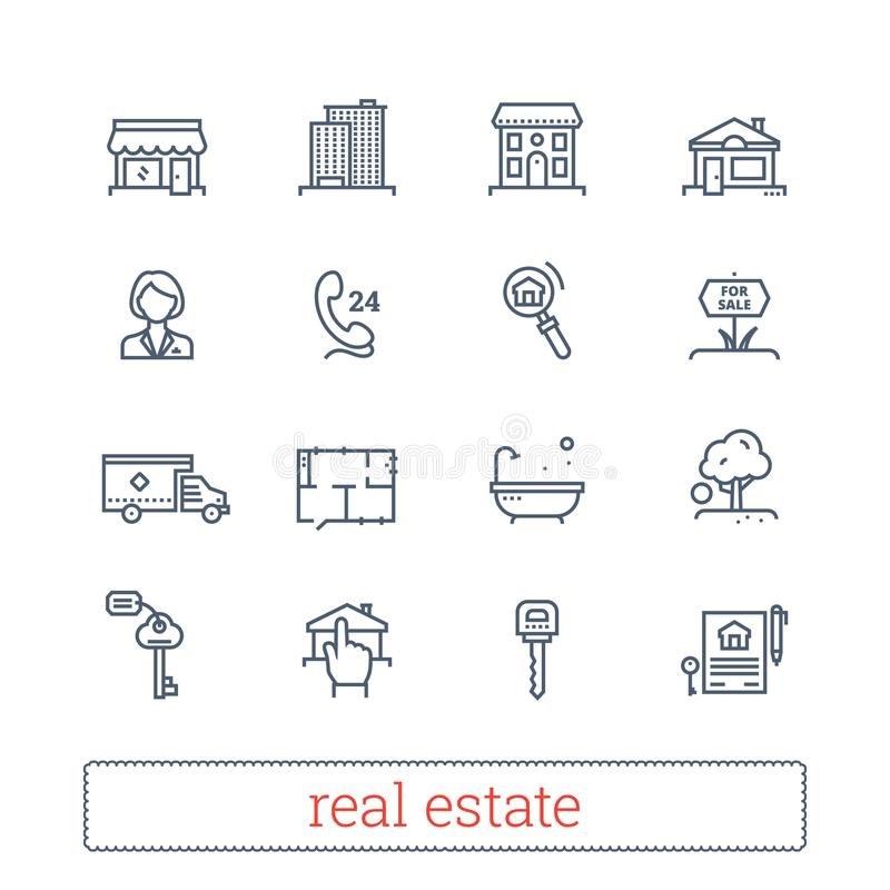 Real estate thin line icons. Leasing, renting, buying and selling realty signs. Modern linear vector design elements. vector illustration
