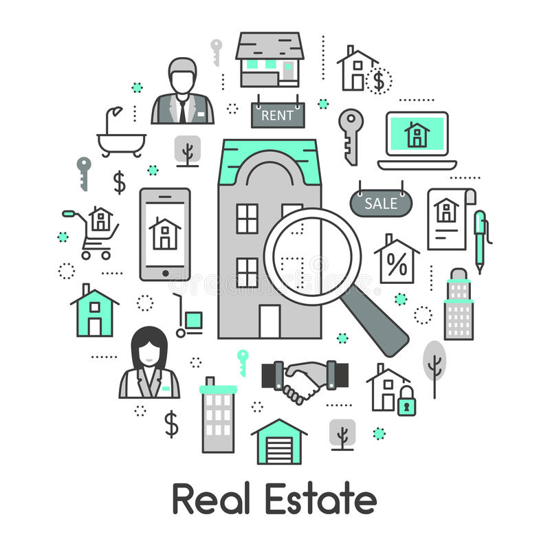 Real Estate Thin Line Icons Set with Agent and Houses stock illustration