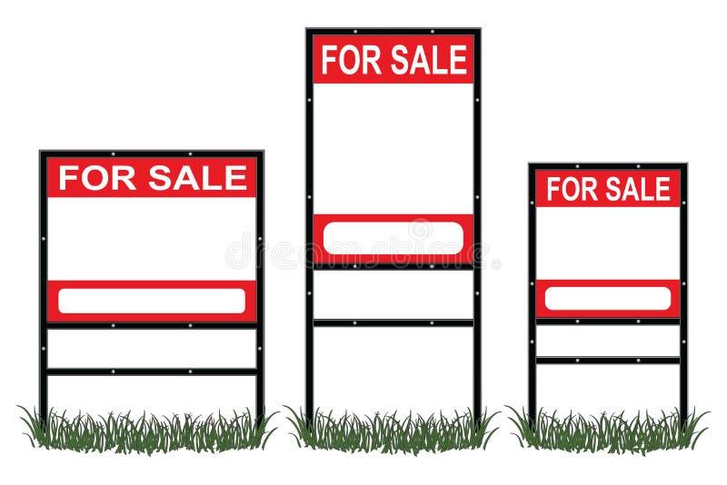 Real Estate till salu tecken stock illustrationer