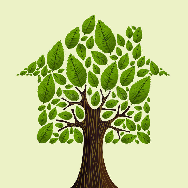 Real estate tree idea. Real estate tree house green leaves illustration. Vector file layered for easy manipulation and custom coloring stock illustration