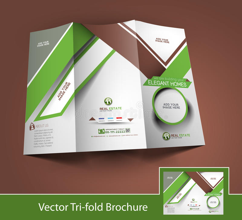 Real Estate trifold broschyr stock illustrationer
