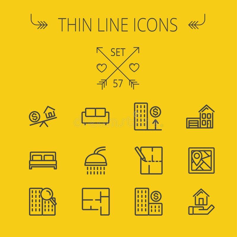 Real Estate tunn linje symbolsuppsättning royaltyfri illustrationer