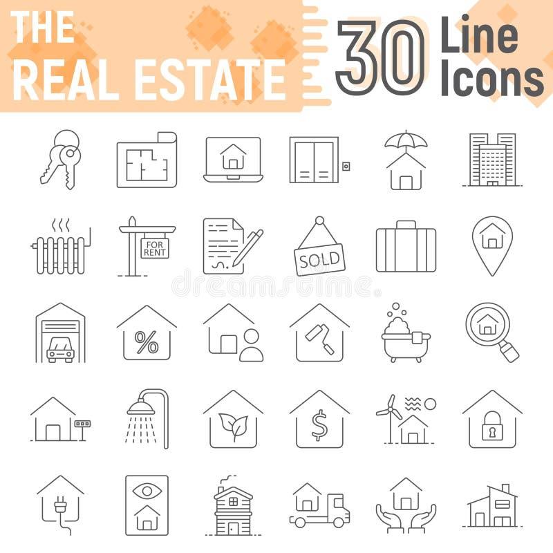 Real Estate tunn linje symbolsuppsättning, hem- tecken royaltyfri illustrationer
