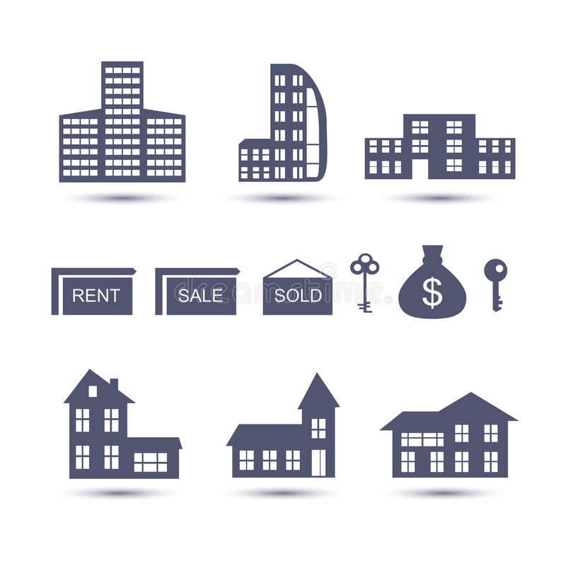 Real Estate vector ícones ilustração royalty free