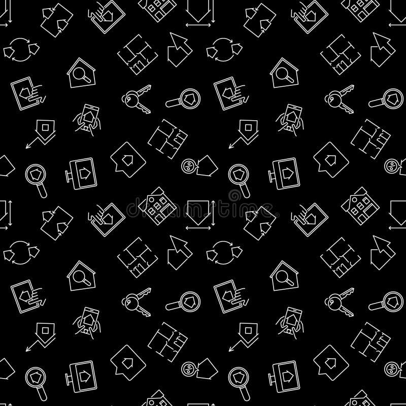 Real Estate vector el modelo inconsútil del esquema oscuro ilustración del vector