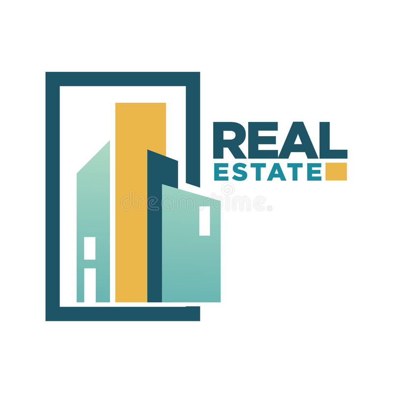 Real estate vector icon template for building agency or residence construction company stock illustration