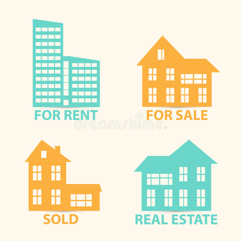 Real Estate vector icons set royalty free illustration