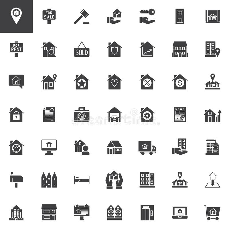 Real estate vector icons set stock illustration