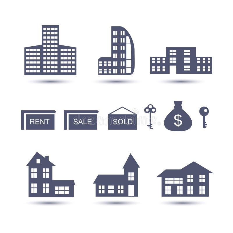 Real Estate vector Ikonen lizenzfreie abbildung