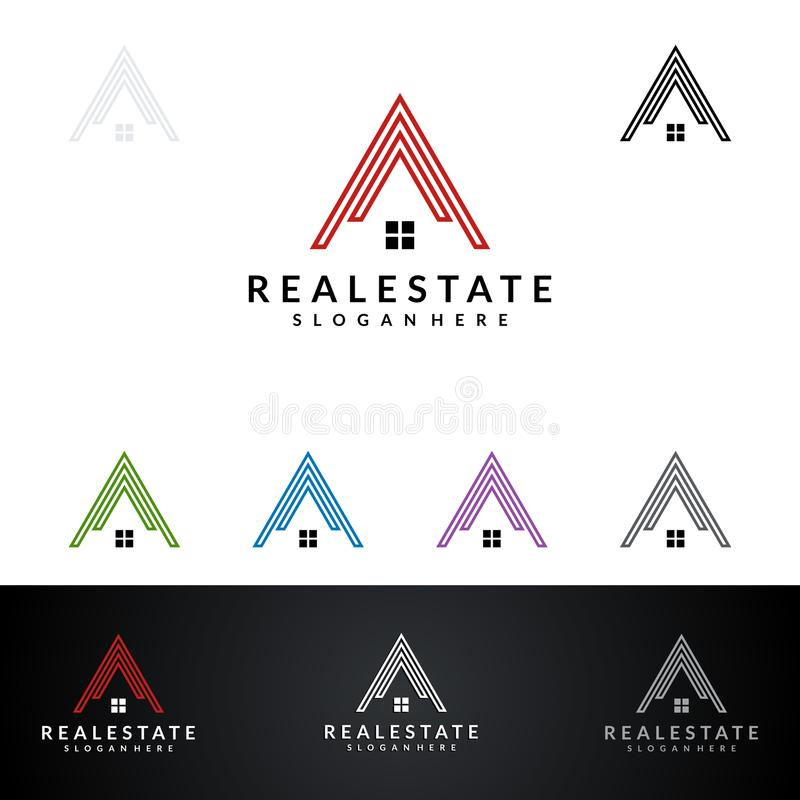 Real Estate vector la progettazione di logo con la Camera e la forma dell'ecologia, isolate su fondo bianco illustrazione vettoriale