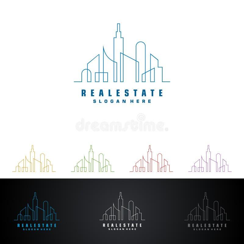 Real Estate vector Logodesign mit dem Haus und Ökologieform, lokalisiert auf weißem Hintergrund vektor abbildung