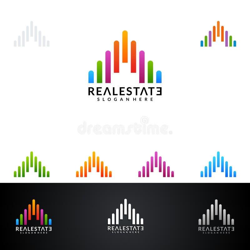 Real Estate vector Logodesign mit Haus und Ökologieform, auf weißem Hintergrund vektor abbildung