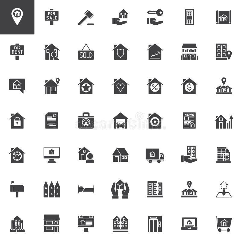 Real Estate vector los iconos fijados stock de ilustración
