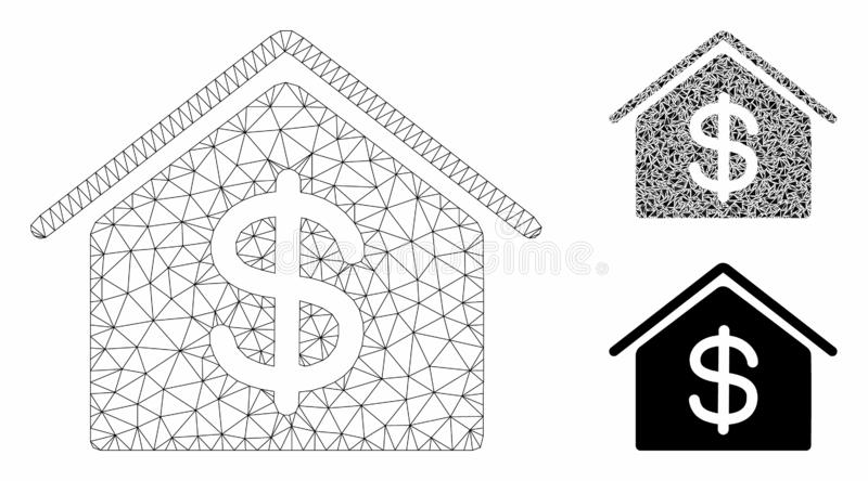 Real Estate Vector Mesh Carcass Model and Triangle Mosaic Icon. Mesh real estate model with triangle mosaic icon. Wire carcass triangular mesh of real estate vector illustration